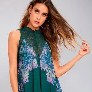 Free People Marsha Printed Slip Dress Green XS